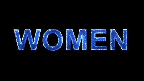 Blue lights form luminous text WOMEN. Appear, then disappear. Electric style Animation