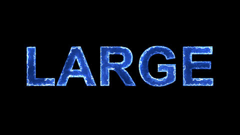 Blue lights form luminous text LARGE. Appear, then disappear. Electric style Animation