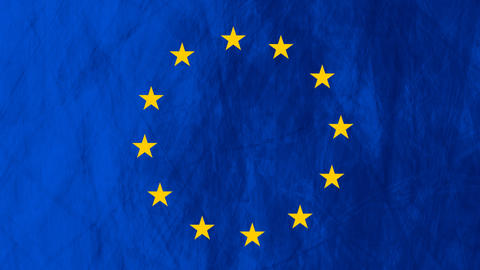 European Union Flag Grunge Video Animation stock footage
