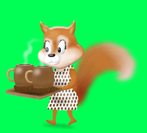 Lady Squirrel wif Acorn Coffee Animation