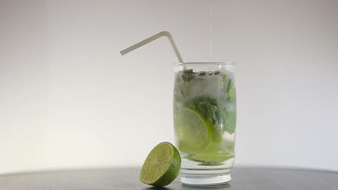 mojito cocktail on white background Footage