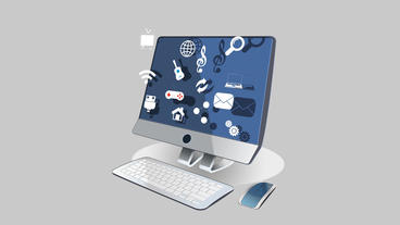 Computer With Keyboard Mouse Showing Social Media Icons Pop Out From The Screen stock footage