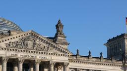 German Politics: Pan Shot of The Reichstag Building in Berlin, Germany Footage