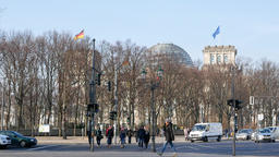 Tourists At Traffic Lights With Reichstag Building In Berlin, Germany Footage