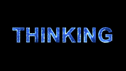 Blue lights form luminous text THINKING. Appear, then disappear. Electric style Animation