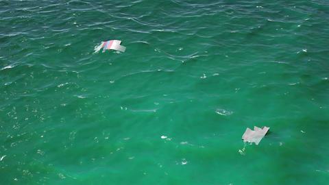 4K Aerial of Crashed Airplane Wrecks Floating on Ocean Cinematic 3D Animation 1 Animación