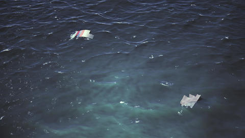 4K Aerial of Crashed Airplane Wrecks Floating on Ocean Cinematic 3D Animation Animation