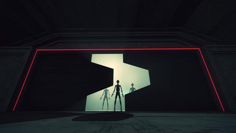 4K Aliens Reveal behind Cinematic Space Station Hangar Gates 8 GIF