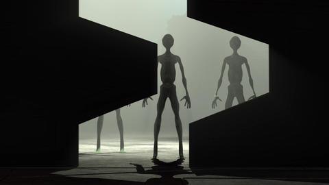 Aliens Reveal behind Spaceship Door 3 Animation