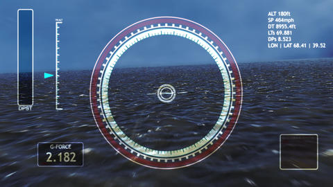 4K High Tech Aircraft HUD Interface Flying over Sea Animation