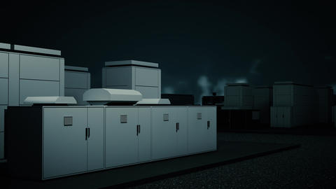 4K NAS Battery Park Energy Storage Station at Night Photorealistic 3D Animation Animation