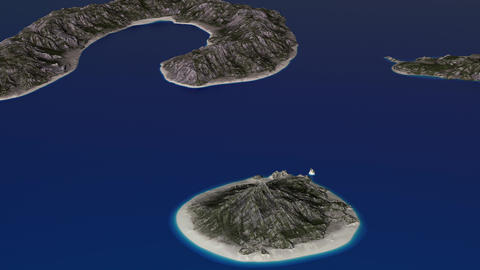 4K Simulating Ocean Slowly Covers Small Tropical Islands Aerial 3D Animation Animation