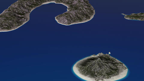 4K Small Islands in the Ocean Aerial 3D Animation 1 Animation