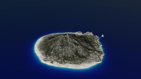 4K Volcanic Island in the Ocean Aerial 3D Animation 1 Animation