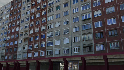 Eastern European Panel Plattenbau Block Building Establishing Shot 3D Animation Animation