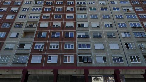 Eastern European Panel Plattenbau Block Building Establishing Shot 3D Animation GIF