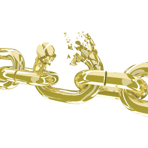 Broken gold chain on white 3D render フォト