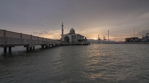 Timelapse beautiful flame cloud sky at floating mosque Live Action
