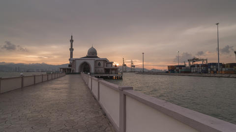 Timelapse day to night transition at floating mosque Live Action