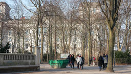 Tourists In Tiergarten Park With Reichstag Building In Berlin, Germany Footage