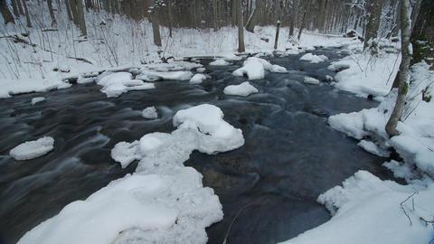 Water in frozen stream. Snowy river in forest in the winter Footage
