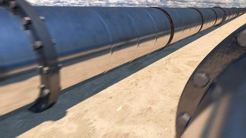 2 oil pipes in desert, loop Image