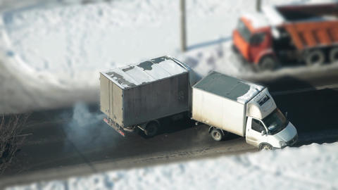 trucks collided on the road Footage