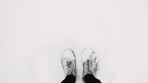 Footsteps in the Snow Wearing White Shoes with Nature and Birds Ambience Live Action
