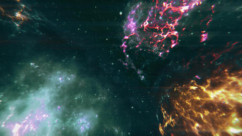 4K Flying through Nebulas in Galaxy out to Outer Space Bad Signal 3D Animatio Animation