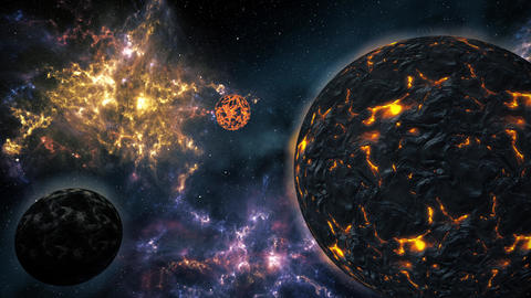 4K Planets and Stars in the Galaxy Cinematic 3D Animation 3 Stock Video Footage