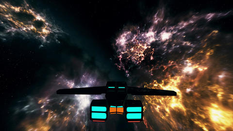 4K Spaceship Flying in Nebula in Galaxy Outer Space 3D Animation 2 Animation