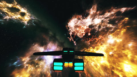4K Spaceship Flying in Nebula in Galaxy Outer Space 3D Animation 3 Animation