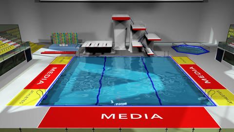 Diving Pool Arena Complex Cinematic Dolly 3D Animation 1 GIF
