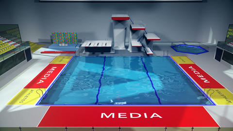 Diving Pool Arena Complex Cinematic Dolly 3D Animation 2 Animation