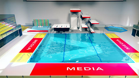 Diving Pool Arena Complex Cinematic Dolly 3D Animation 3 Animation