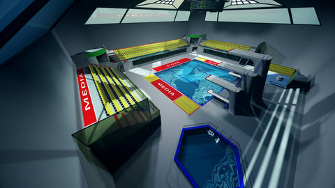 Diving Pool Arena Complex Extreme Wide Pan 3D Animation 2 GIF