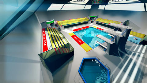 Diving Pool Arena Complex Extreme Wide Pan 3D Animation 3 Animation