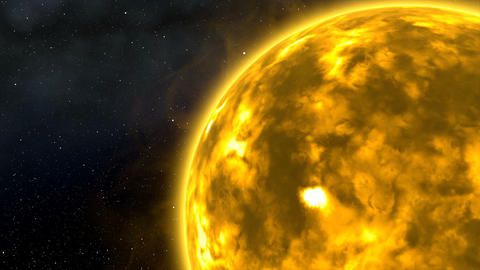 Sun with Flares and Bursts in Space Cinematic 3D Animation 1 Animation