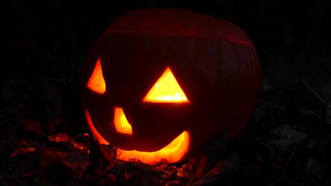 4K Jack o Lantern Halloween Pumpkin Head at Night 2 Footage