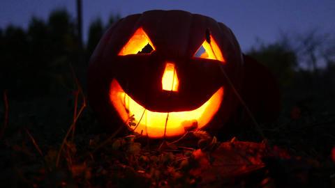 4K Jack o Lantern Halloween Pumpkin Head at Night 4 Footage