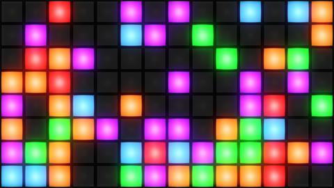 Colorful Disco nightclub dance floor wall glowing light grid background vj loop Image