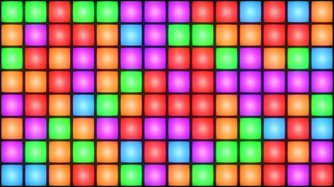 Colorful Disco nightclub dance floor wall glowing light grid background vj loop CG動画