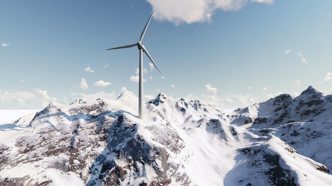 Wind generator in snowy mountains Footage