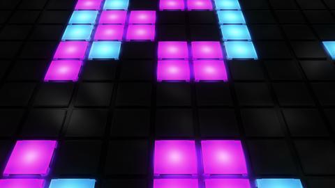 Colorful Disco nightclub dance floor wall glowing light…, Stock Animation