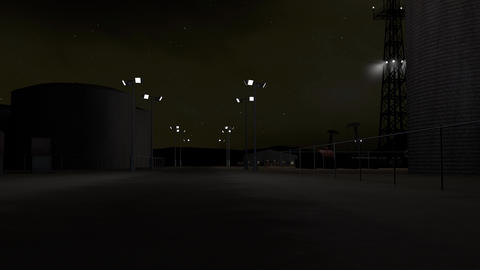 4K Oil Pumping Station and Factory at Night 3D Animation 1 Animation
