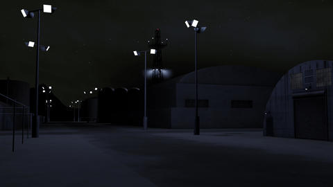4K Outpost Military Barracks at Night 3D Animation 2 CG動画素材