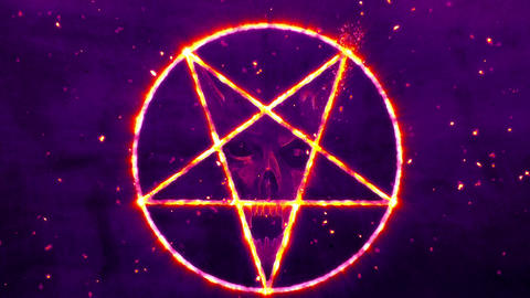 4K Pentagram Symbol with Revealing Satan Face 6 Animation