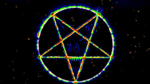 4K Pentagram Symbol with Revealing Satan Face 11 Animation