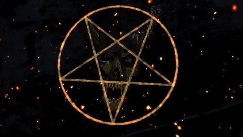 4K Pentagram Symbol with Revealing Satan Face v2 1 Animation
