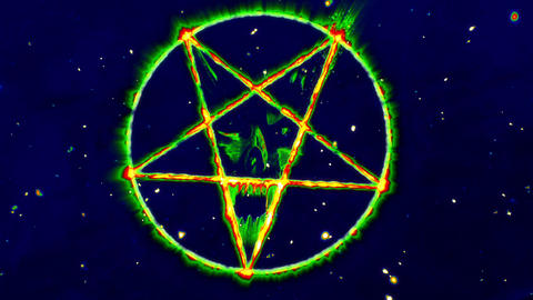 4K Pentagram Symbol with Revealing Satan Face v2 11 Animation